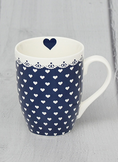 Pink&More Blue Heart New Bone China Kupa   Renkli